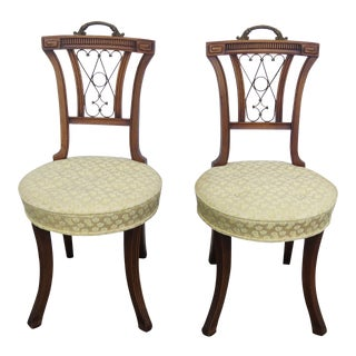 Pair of Mahogany Side Chairs Brass Finish Handles 2308 For Sale
