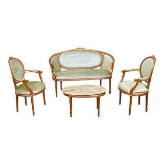 Antique Italian Angelo Cappellini Rococo Seating Set - 4 Pieces For Sale