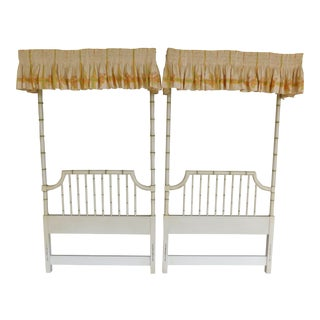 Thomasville Allegro Regency Style Faux Bamboo Twin 1/4 Tester Headboard - a Pair For Sale