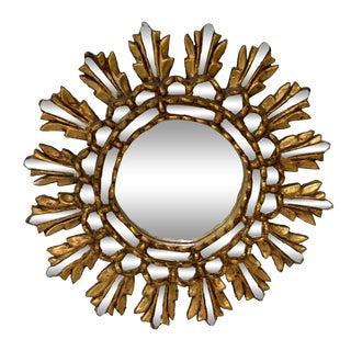 Antique Italian Florentine Gold Gilt on Wood Sunburst Wall Mirror For Sale