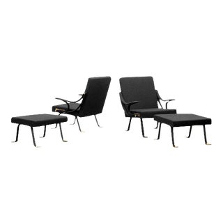 1957 Vintage Ignazio Gardella Digamma Reclining Arm Chairs & Ottomans - a Pair For Sale