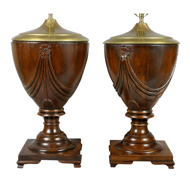 Art Deco Georgian Style Mahogany Table Lamps - a Pair For Sale - Image 3 of 5