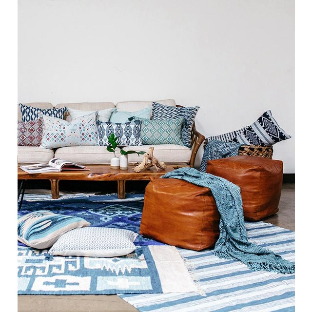 Blue & White Handwoven Striped Rug - 5′ × 8′6″ - Image 3 of 5