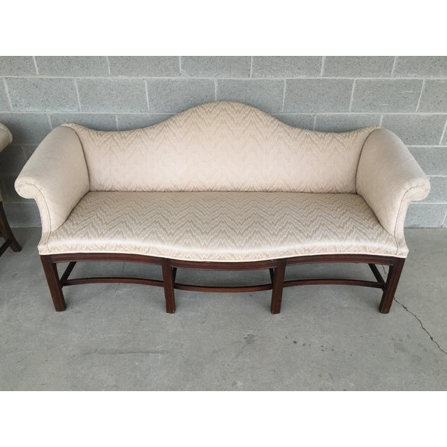 Chippendale 19th Century Antique Chippendale Style 8 Leg Camel Back Serpentine Front Settees - A Pair For Sale - Image 3 of 13