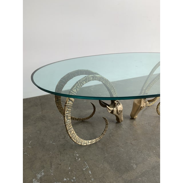 Metal Hollywood Regency Brass Ibex Rams Head Coffee Table For Sale - Image 7 of 13