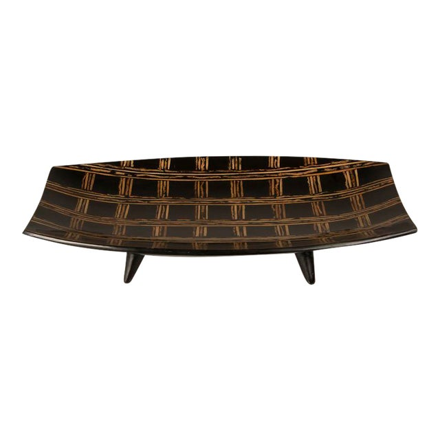 Modern Large Black Lacquer Tray Inlaid with Bamboo, Malaysia For Sale