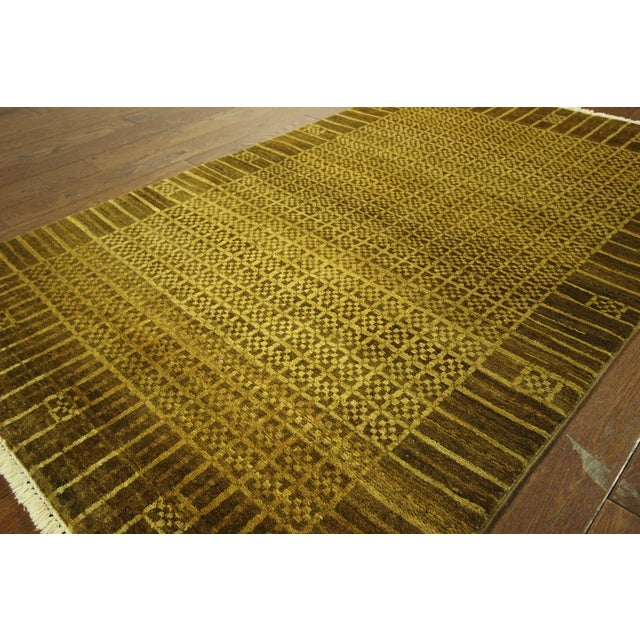"Oriental Oushak Green Chobi Rug - 4'1"" x 6'7"" For Sale - Image 4 of 7"