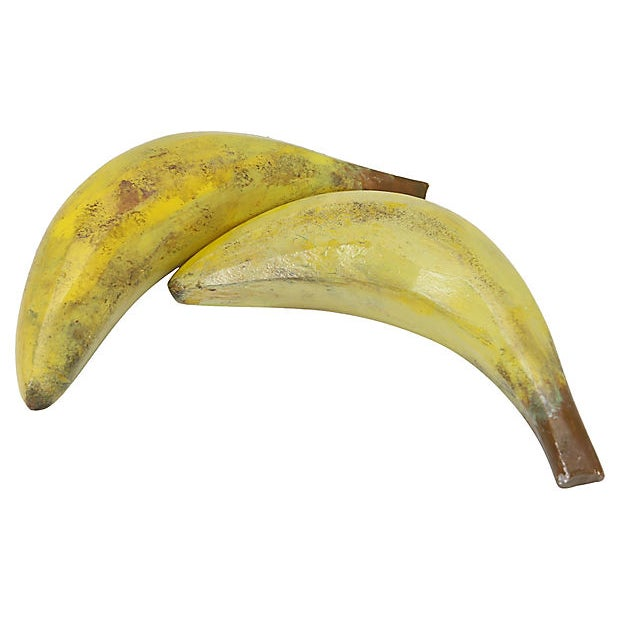Pair of 1960s Italian bananas realistically hand-painted to resemble natural fruit. No maker's mark. Light wear.