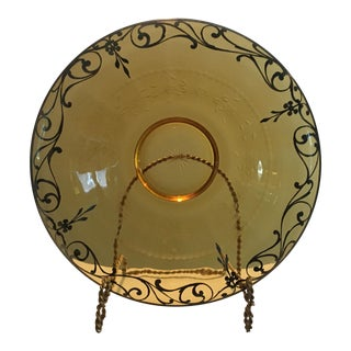 Antique 1930's French Hand Painted Platinum Bowl