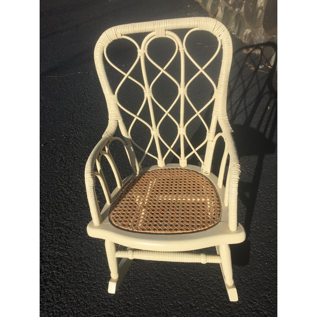 Antique Victorian Wicker Childs Rocking Chair For Sale - Image 9 of 9