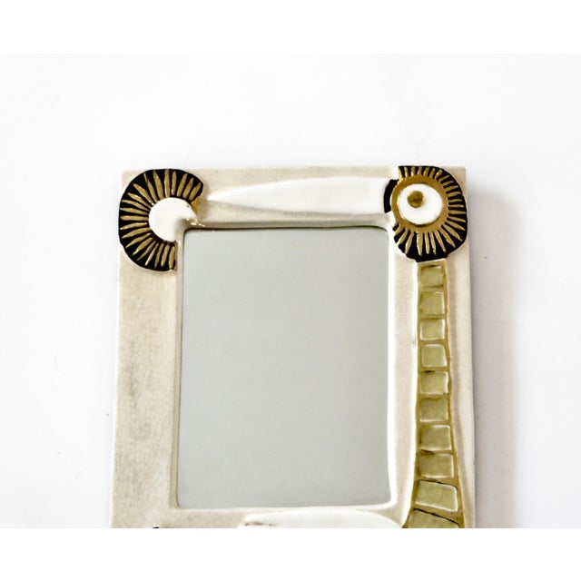 French Francois Lembo Ceramic Wall Mirror For Sale - Image 4 of 8