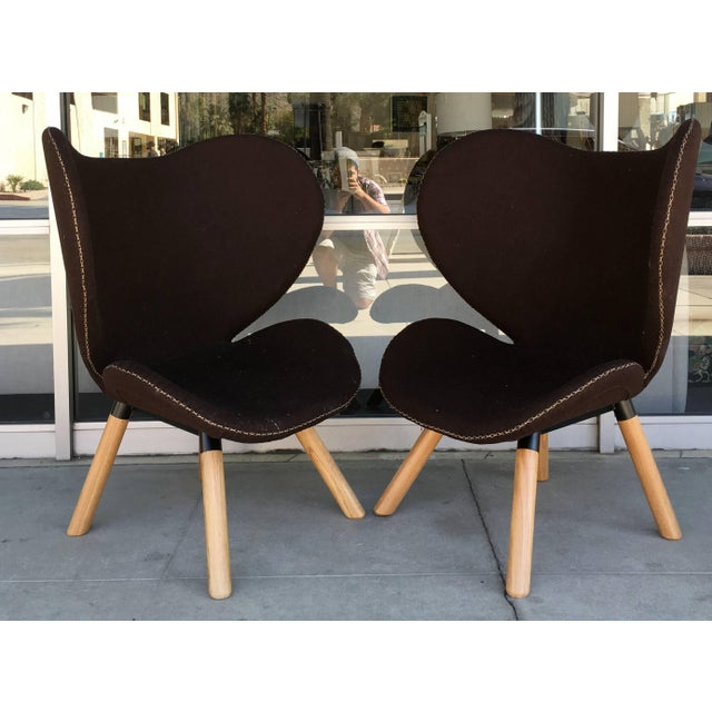 Mid-Century Modern Mid-Century Modern Denmark Designed Brown Wool Easy Chairs- A Pair For Sale - Image 3 of 7