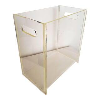 Mid Century Modern Vintage Minimalist Lucite Magazine Holder/Rack Box/Basket For Sale