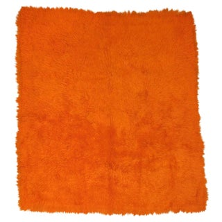 Orange Turkish Tulu Shag Rug For Sale