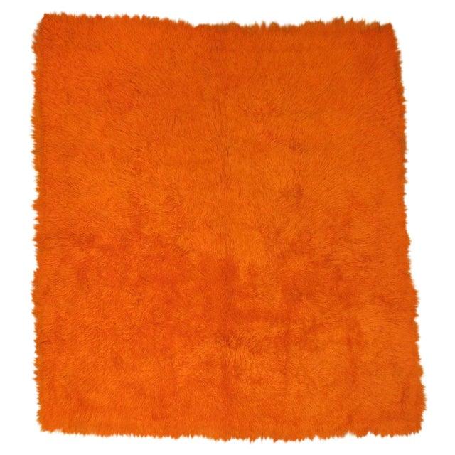 Orange Turkish Tulu Shag Rug For Sale