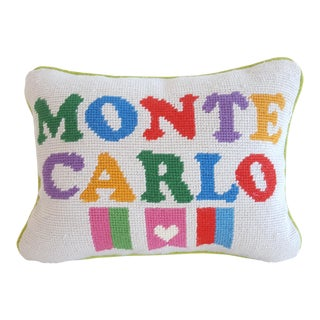Jonathan Adler Needlepoint Monte Carlo Velvet Backed Throw Pillow