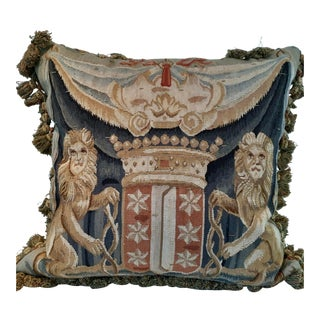 19th French Century Lion Tapestry Pillow For Sale