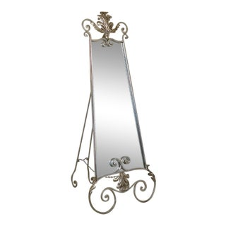 Silver Decorated Scrolled Iron Cheval Dressing Mirror For Sale