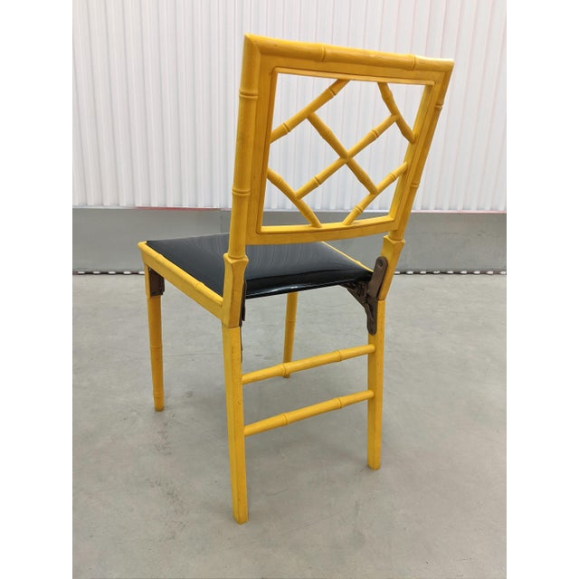 1970s Hollywood Regency Faux Bamboo Folding Chairs - a Pair For Sale - Image 10 of 11