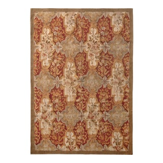 Aubusson Style Flat Weave Hand Woven Beige-Brown Red Floral Pattern by Rug & Kilim For Sale