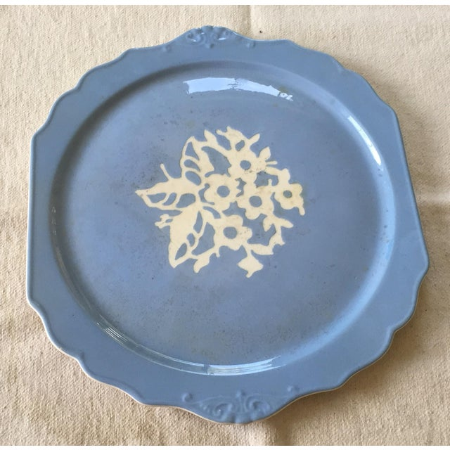 """This vintage Cameo Ware by Harker Pottery """"Dainty Flower"""" pattern decorative light blue cake plate was produced between..."""