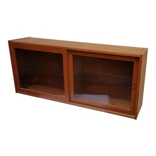 1960s Mid Century Modern Teak Floating Hanging Wall Mount Sideboard Cabinet For Sale