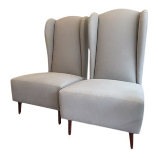 1940s Vintage Wing Chairs- A Pair For Sale