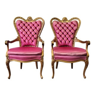 Vintage Victorian Gold & Pink Arm Chairs- A Pair For Sale