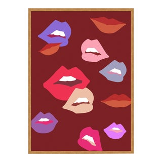 Burgundy Lips by Angela Blehm in Gold Framed Paper, Small Art Print For Sale