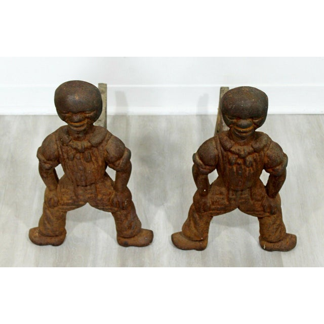 Brutalist Antique Brutalist Iron African Art Male Figurine Fireplace Log Andirons - A Pair For Sale - Image 3 of 7