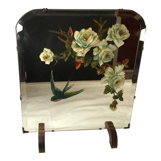 20th Century Early American Mirrored Hand Painted Fire Screen For Sale