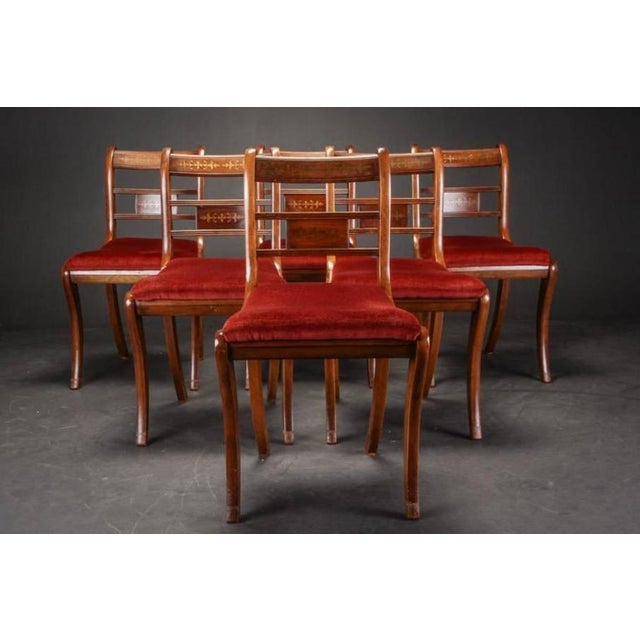 Late 19th Century English Rosewood & Mahogany Chairs - Set of 6 For Sale - Image 5 of 6