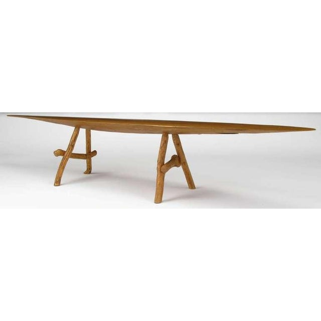 Adirondack Style Natural Wood Surf Board Coffee Table For Sale In Chicago - Image 6 of 8