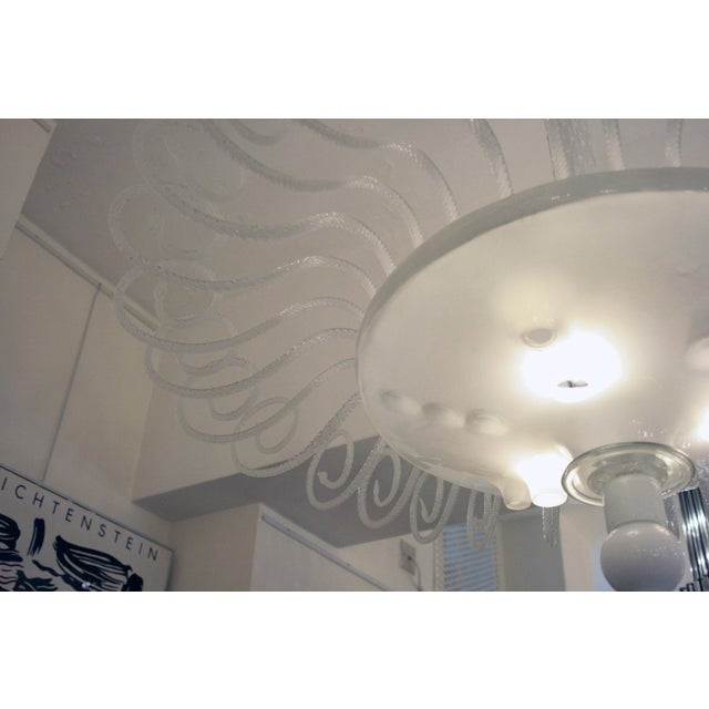 White Lattimo Glass Chandelier For Sale - Image 4 of 5