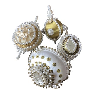 1950s Mid Century Beaded Fancy Christmas Ornaments Lot of 4 White and Gold - Set of 4 For Sale