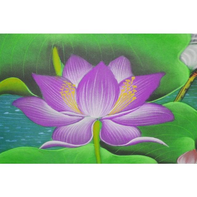 Large Art Deco Textile Art Painting Professionally Framed - Image 5 of 11
