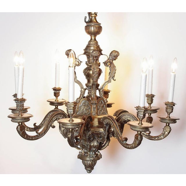 Ornate 19th Century French 8-Light Bronze Chandelier with Cherubs and Faces - Image 2 of 10
