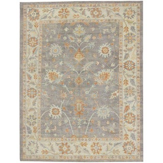 "Turkish Oushak Rug With Light, Neutral Colors - 9'4"" X 12'2"" For Sale"