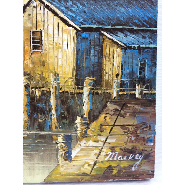 'Ship at the Dock' Mid-Century Oil Painting - Image 5 of 8