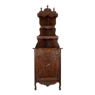 Country French Carved Oak Corner Cabinet For Sale