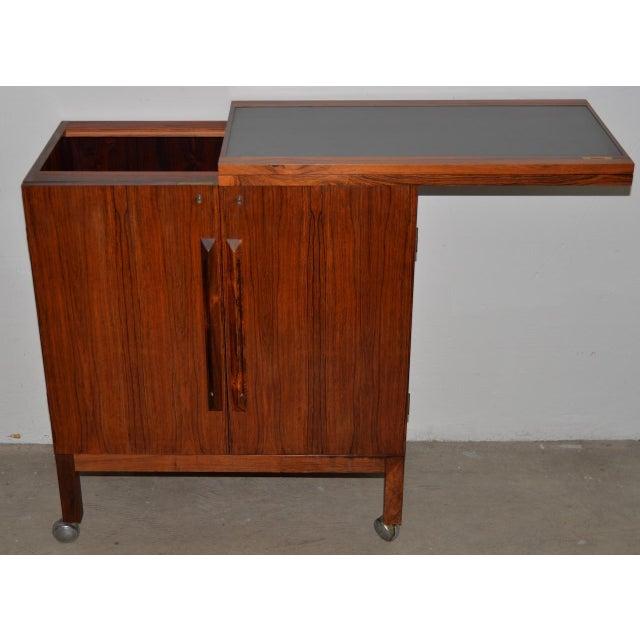 Danish Modern Rosewood Bar Cart by Torborn Afdal for Mellemstrands C.1960s For Sale - Image 11 of 13