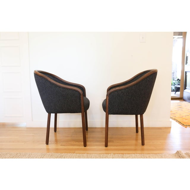 Traditional 1960's Vintage Ward Bennet for Brickell Upholstered Club Chairs- Set of 6 For Sale - Image 3 of 7