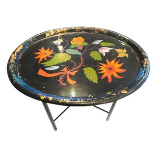19th Century Victorian Tole Tray and Stand For Sale