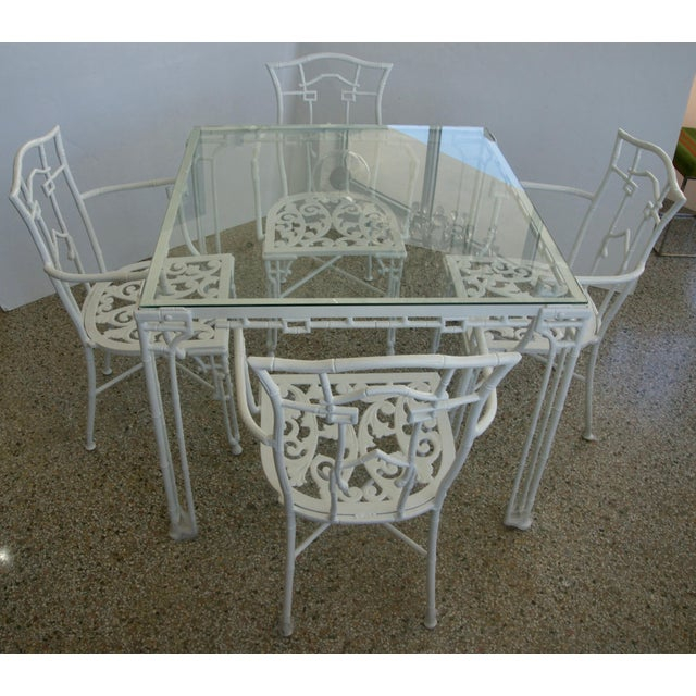This stylish five-piece patio set was recently acquired from a Palm Beach estate and has been professionally restored and...