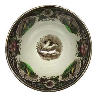 1880s Portieux Brown Transfer Ware Quail Bowl For Sale