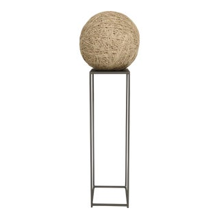 Primitive Twine Ball Sculpture on Steel Pedestal For Sale