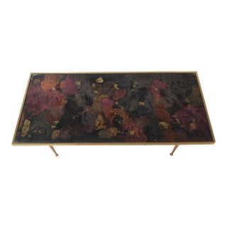 Mid-Century Modern Italian Coffee Table With Brass Legs For Sale