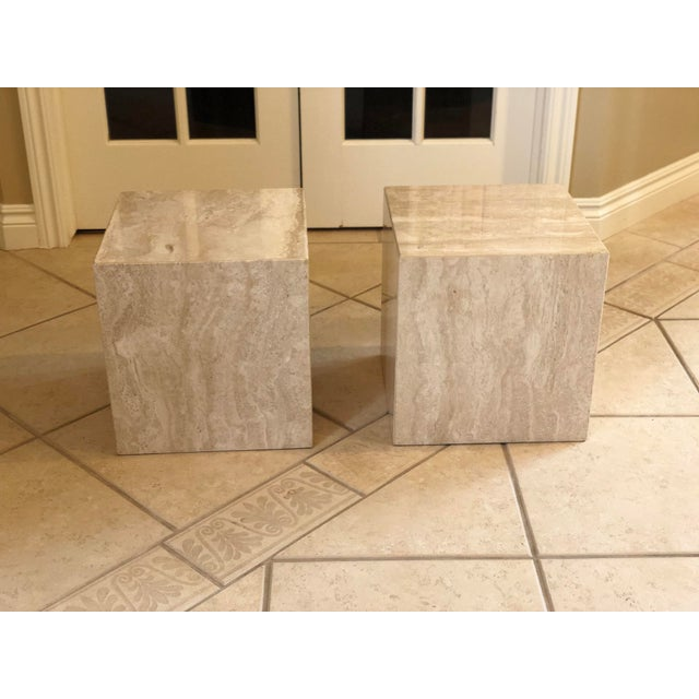 Stone 1970s Vintage Minimalist Italian Travertine Side Tables – A Pair For Sale - Image 7 of 7