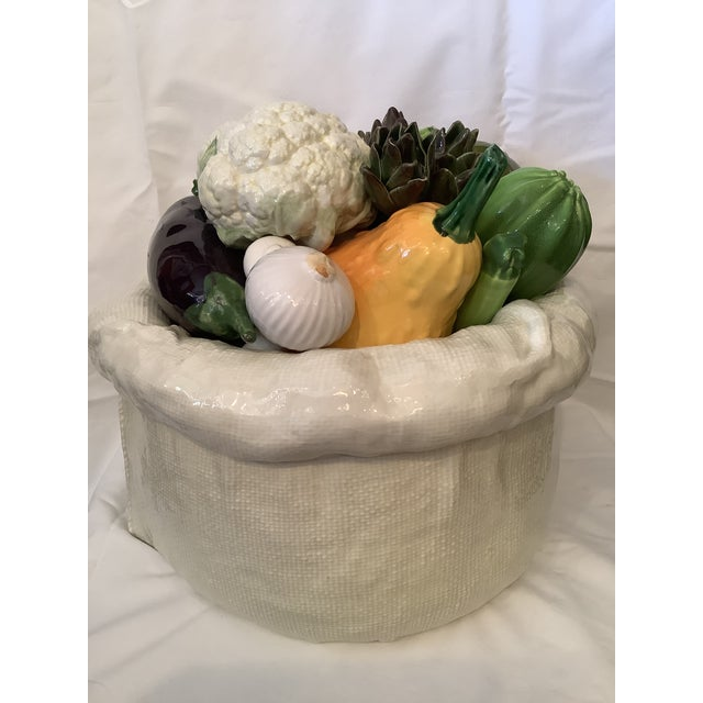 Vintage Italian Bertinazzo Ceramic Bowl of Vegetables For Sale - Image 12 of 13