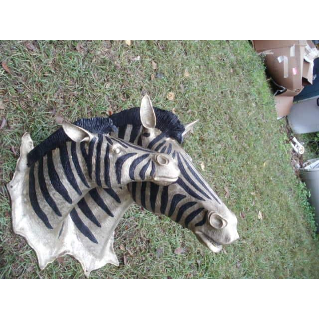 Early 21st Century Cast Bronze Zebra Heads - A Pair For Sale - Image 5 of 5
